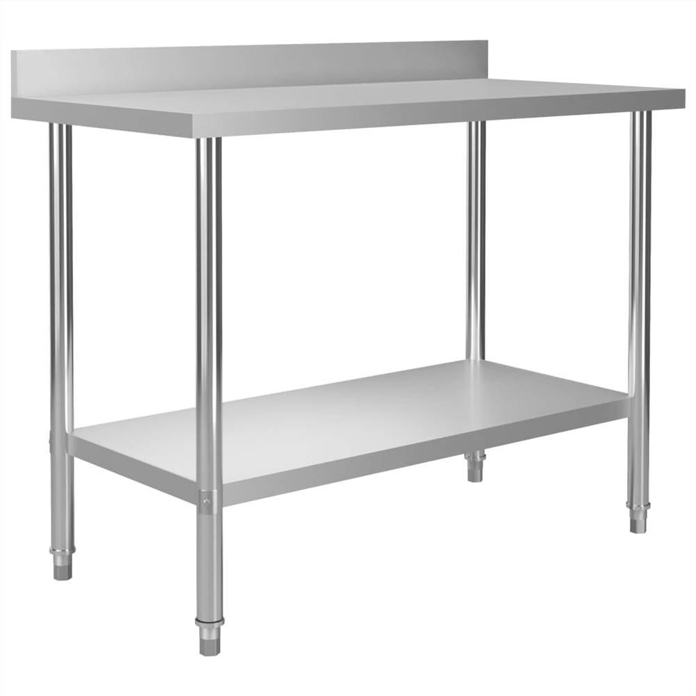 โต๊ะทำงานครัวพร้อม Backsplash 120x60x93 ซม. สแตนเลส