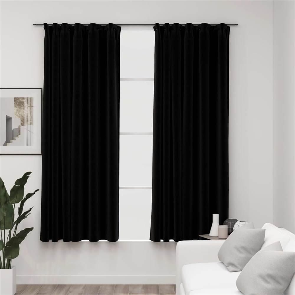 Linen-Look Blackout Curtains with Hooks 2 pcs Black 140x175 cm