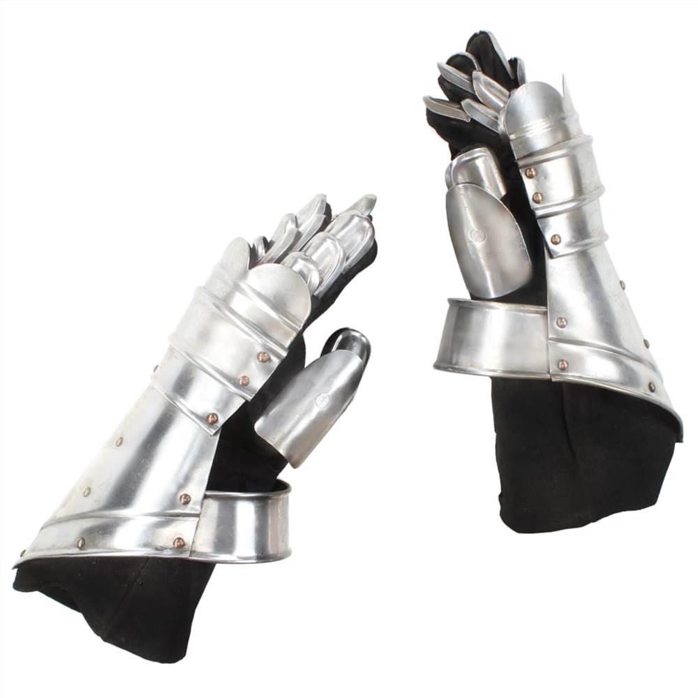 Réplique de gantelets de chevalier médiéval en acier argenté GN