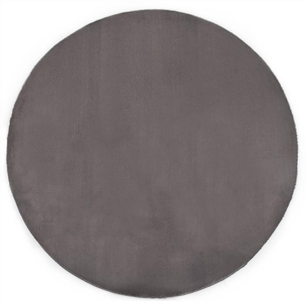 Rug 160 cm Faux Rabbit Fur Dark Grey