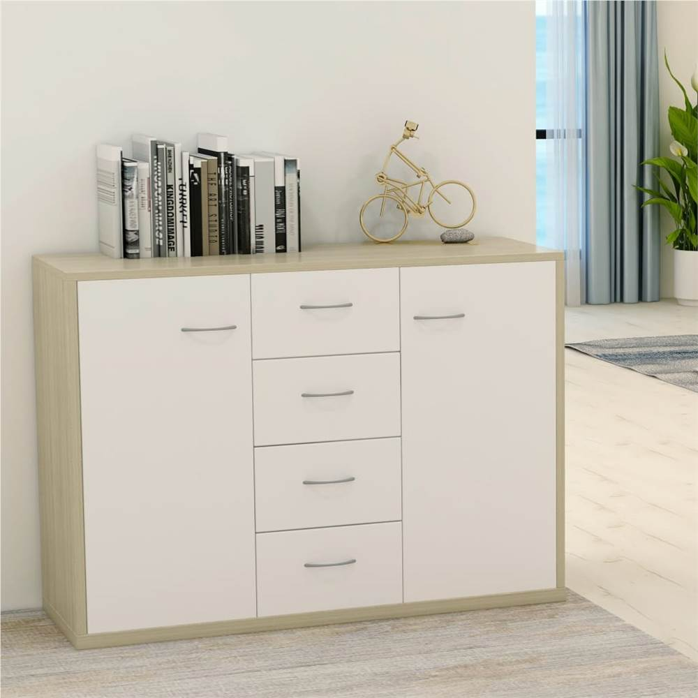 Sideboard White and Sonoma Oak 88x30x65 cm Chipboard
