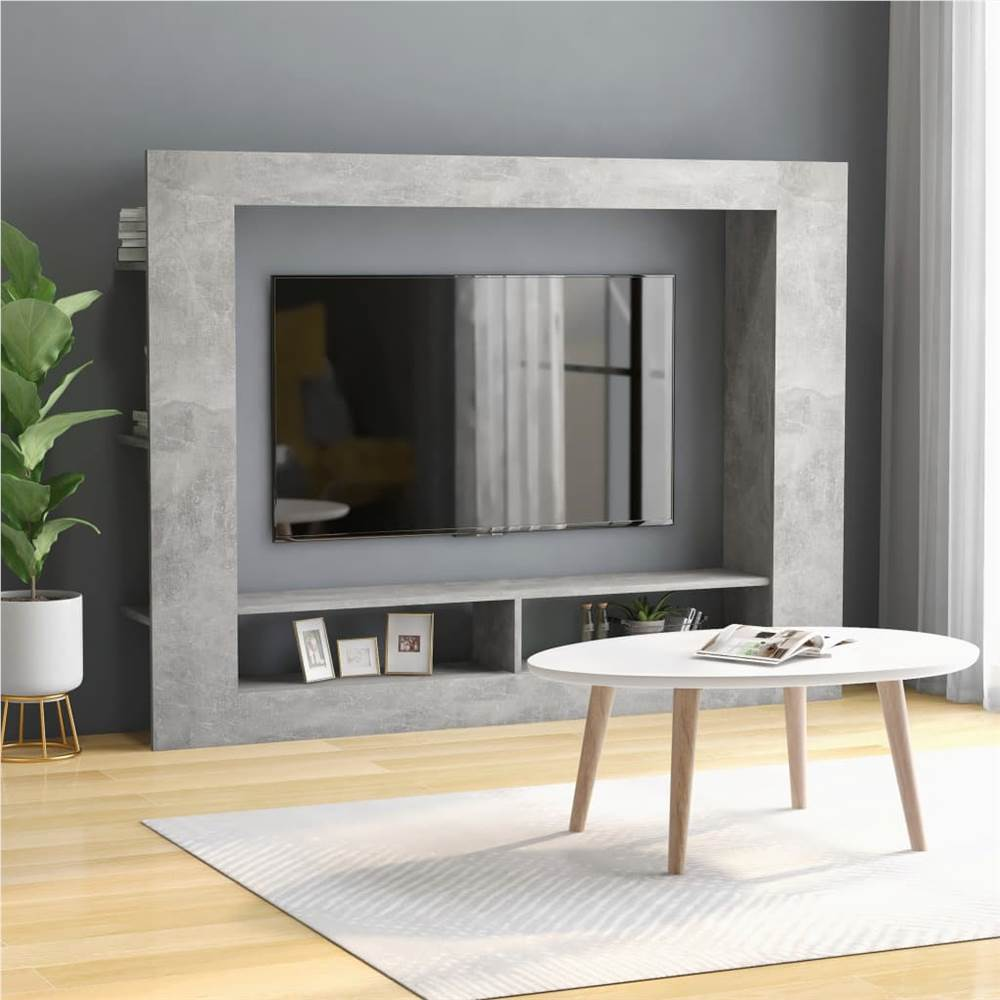 TV Cabinet Concrete Grey 152x22x113 cm Chipboard