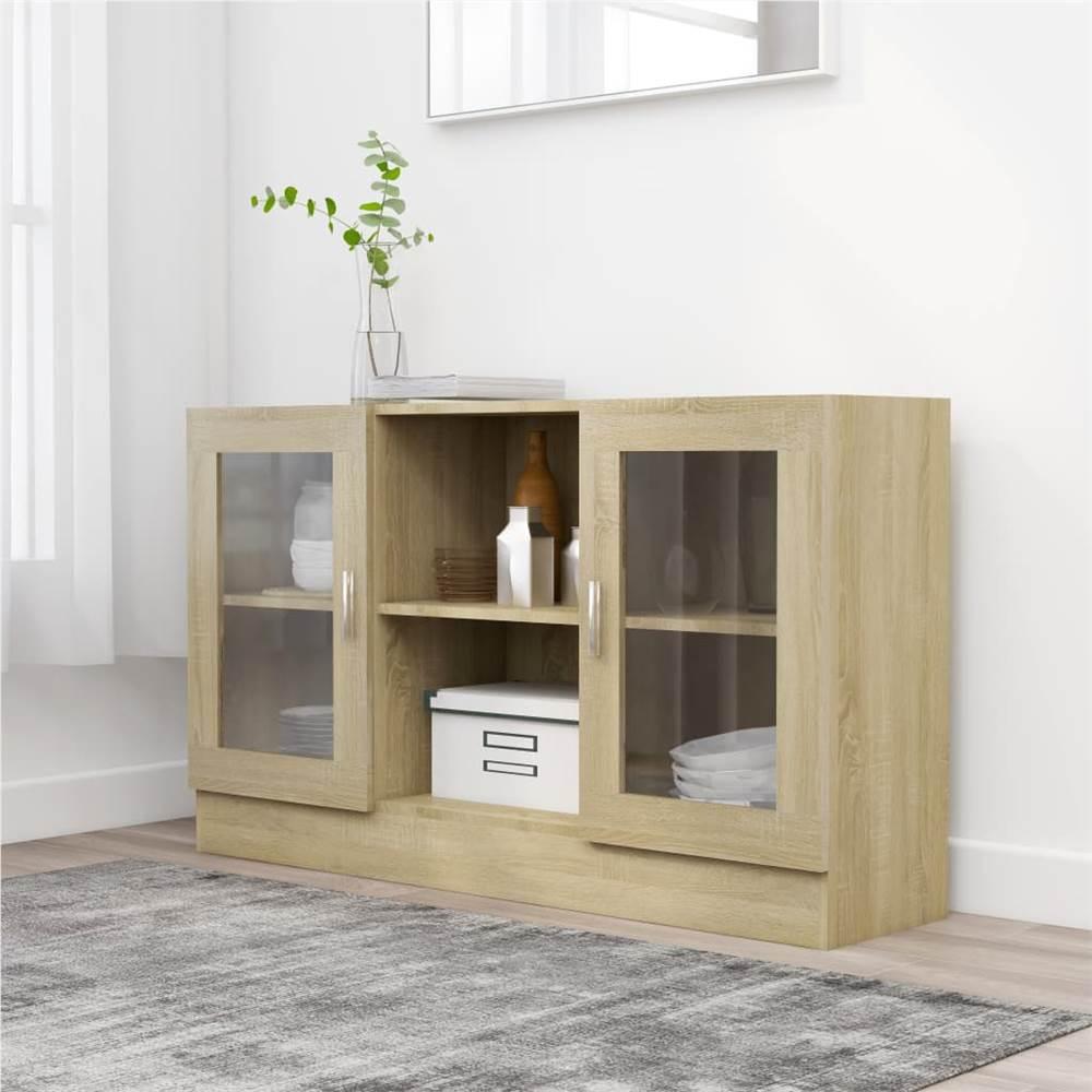 Vitrine Cabinet Sonoma Oak 120x30.5x70 cm Chipboard