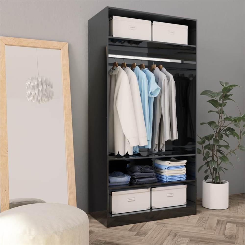 Wardrobe High Gloss Black 100x50x200 cm Chipboard