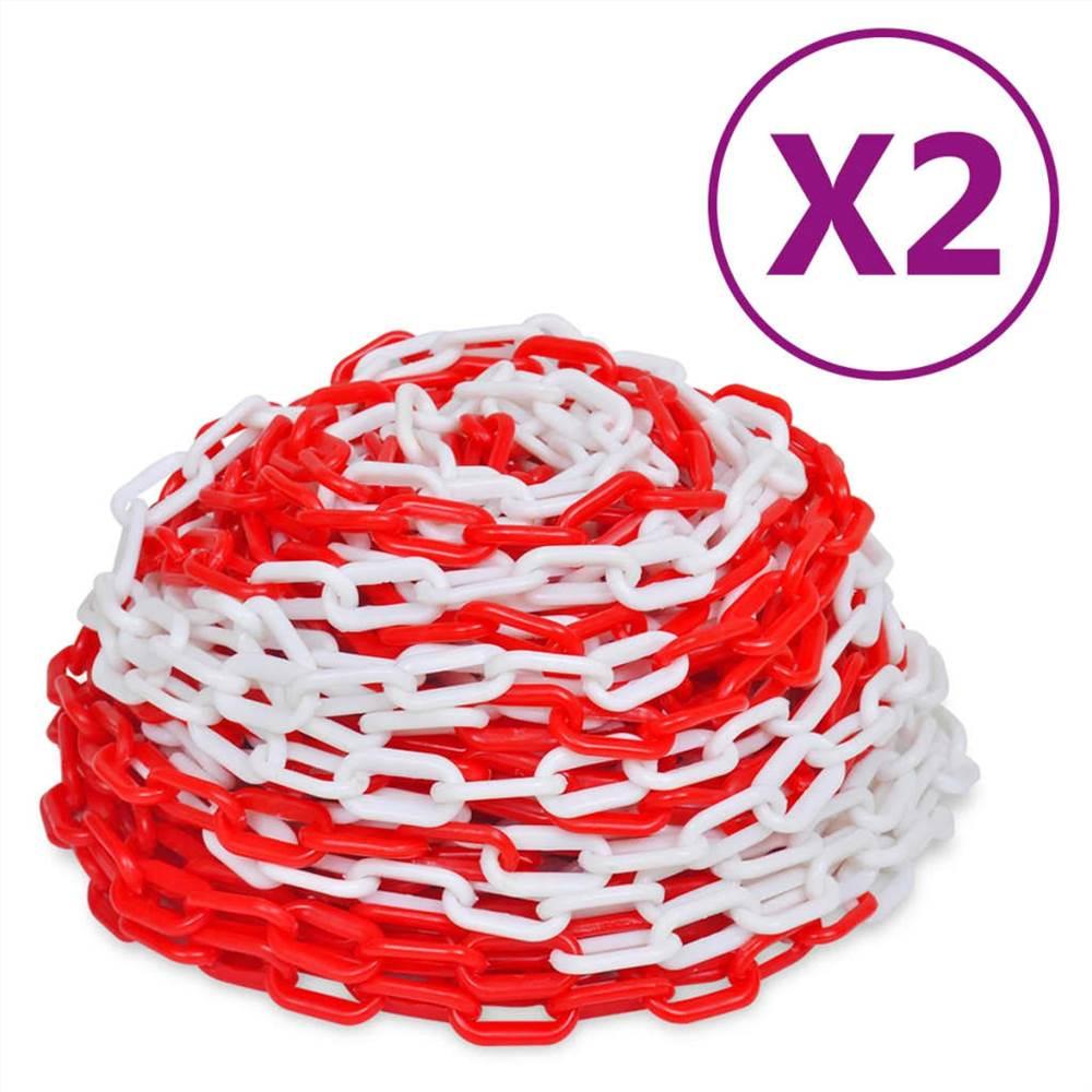 Chaînes d'avertissement 2 pcs plastique rouge et blanc 30 m