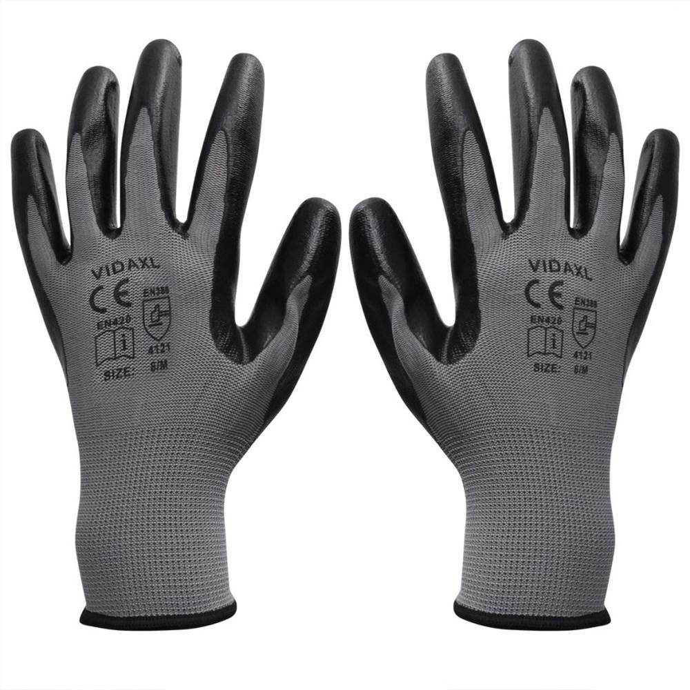 Gants de travail Nitrile 24 paires gris et noir taille 10 / XL