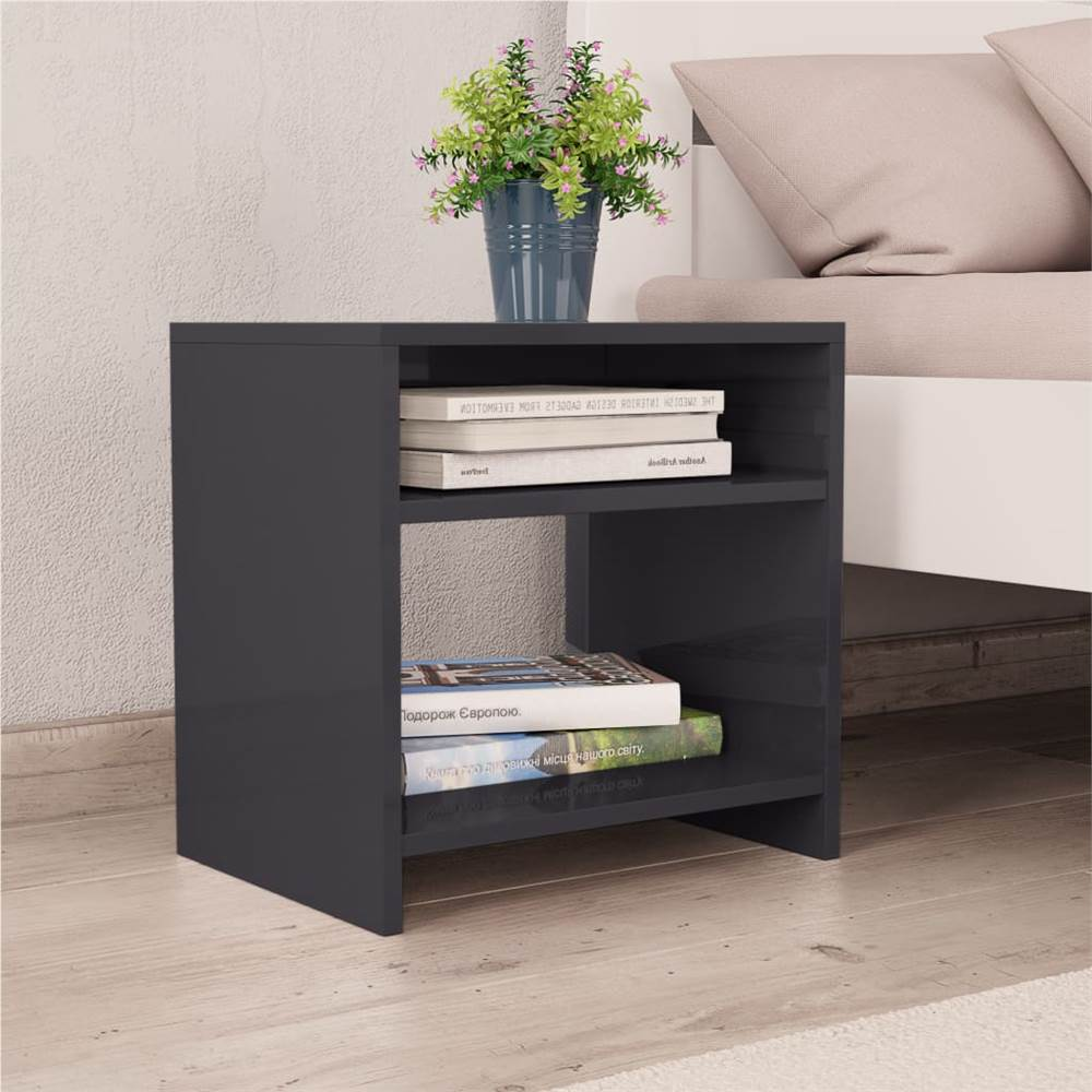 Table de chevet en aggloméré gris 40x30x40 cm