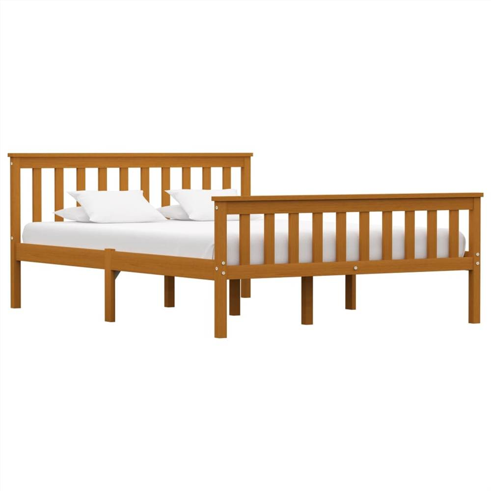 Bed Frame Honey Brown Solid Pinewood 135 x 190 cm