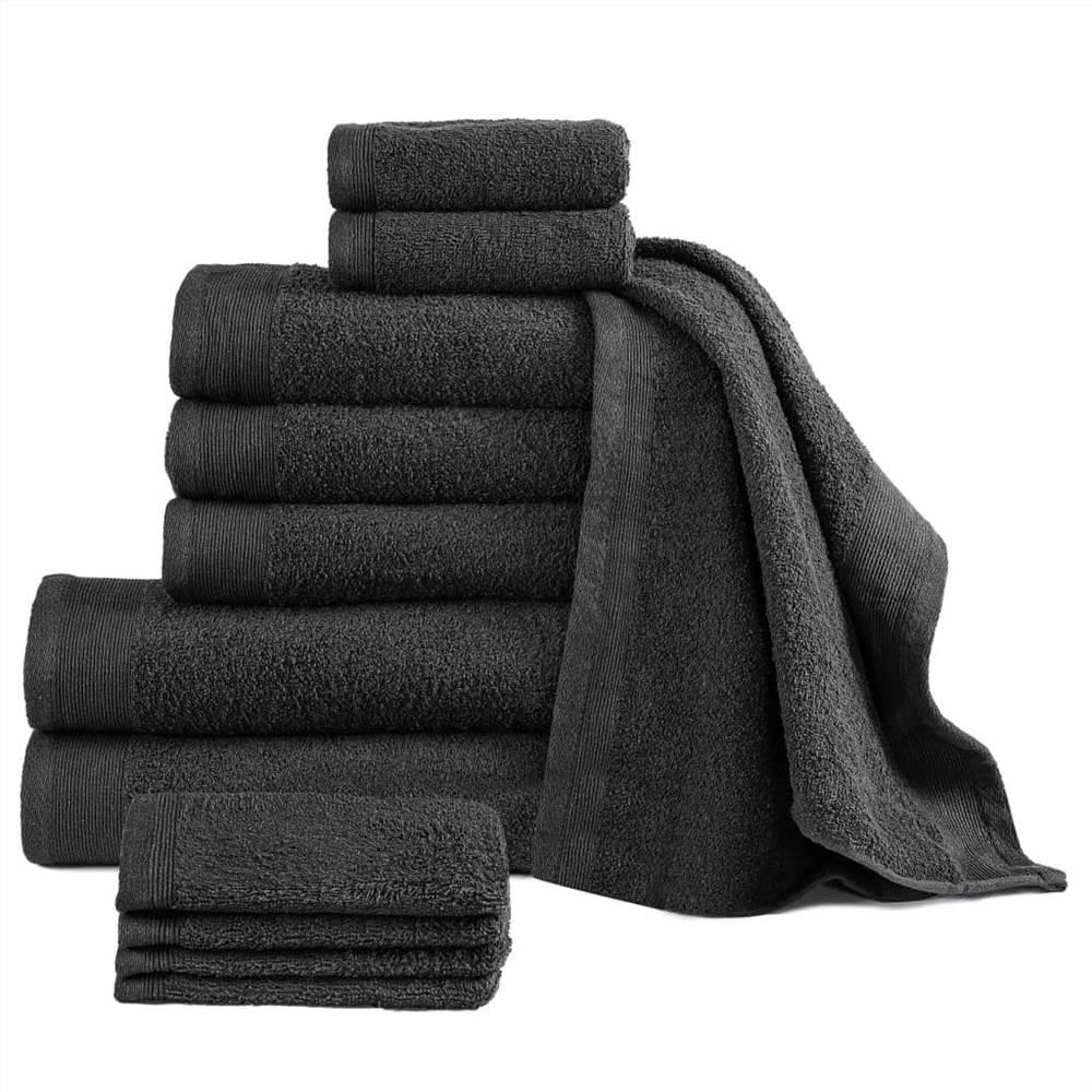 12 Piece Towel Set Cotton 450 gsm Black