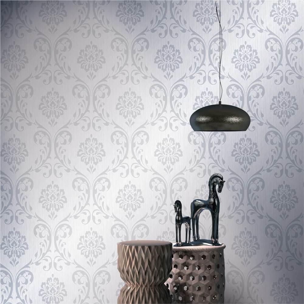 Rolos de papel de parede não tecido com 4 peças Branco 0.53x10 m Ornamento