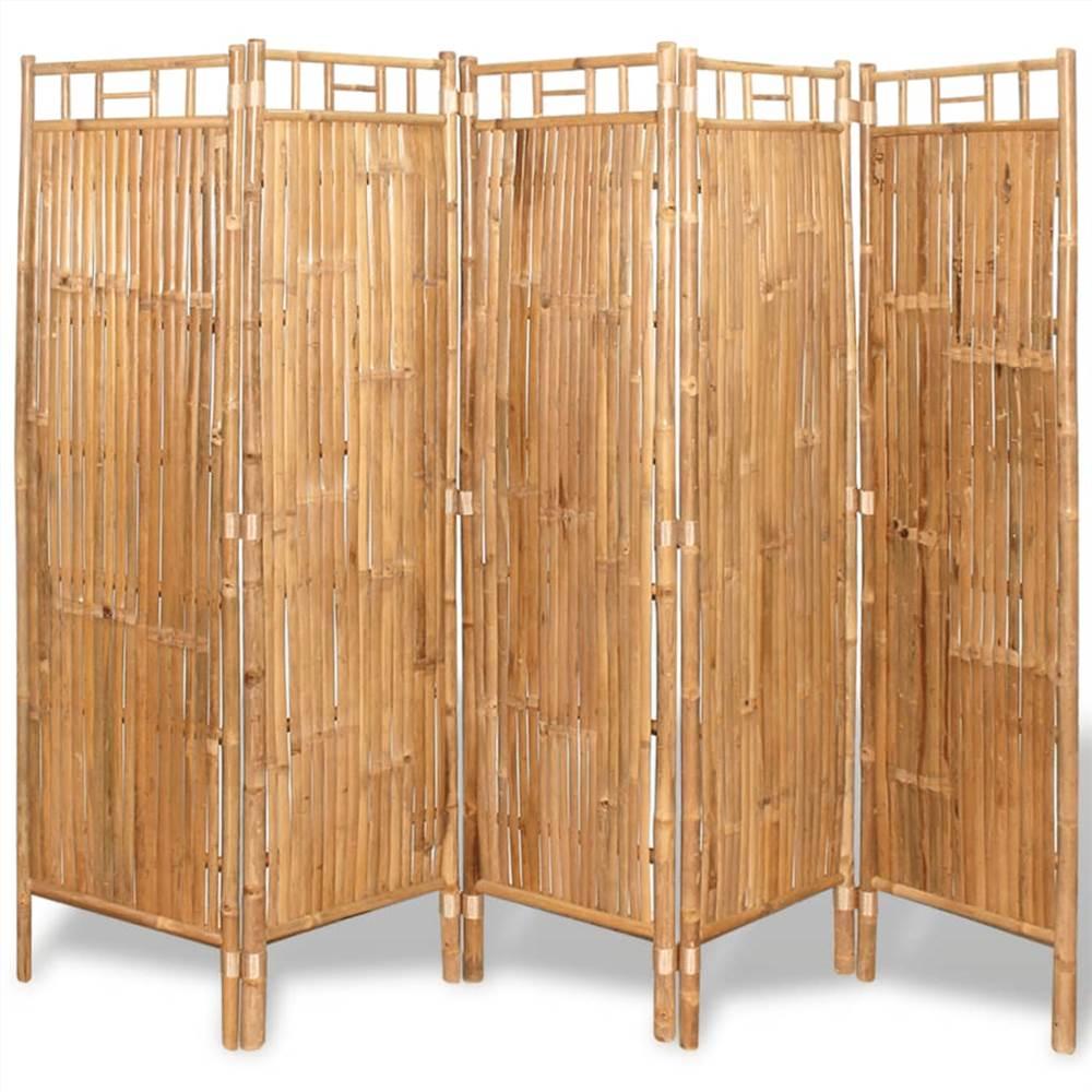 Séparateur d'espace 5 panneaux en bambou 200x160 cm