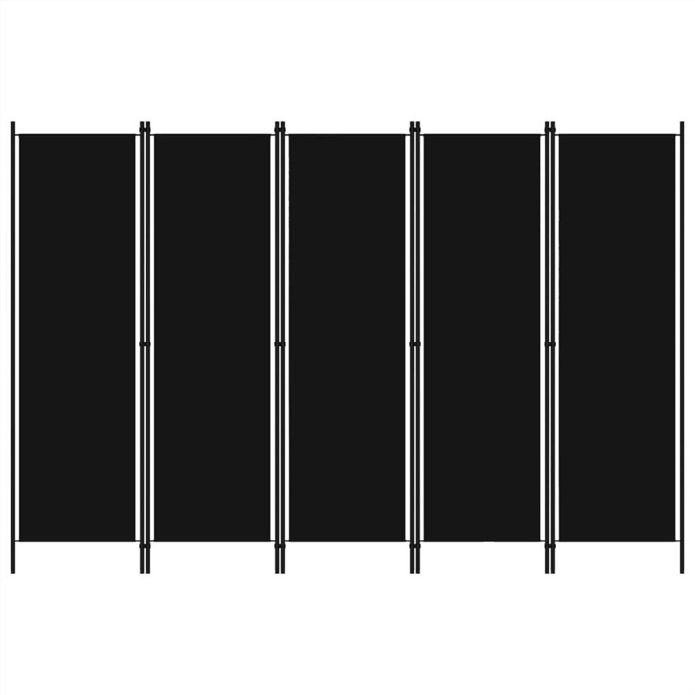Séparateur de pièce à 5 panneaux noir 250x180 cm