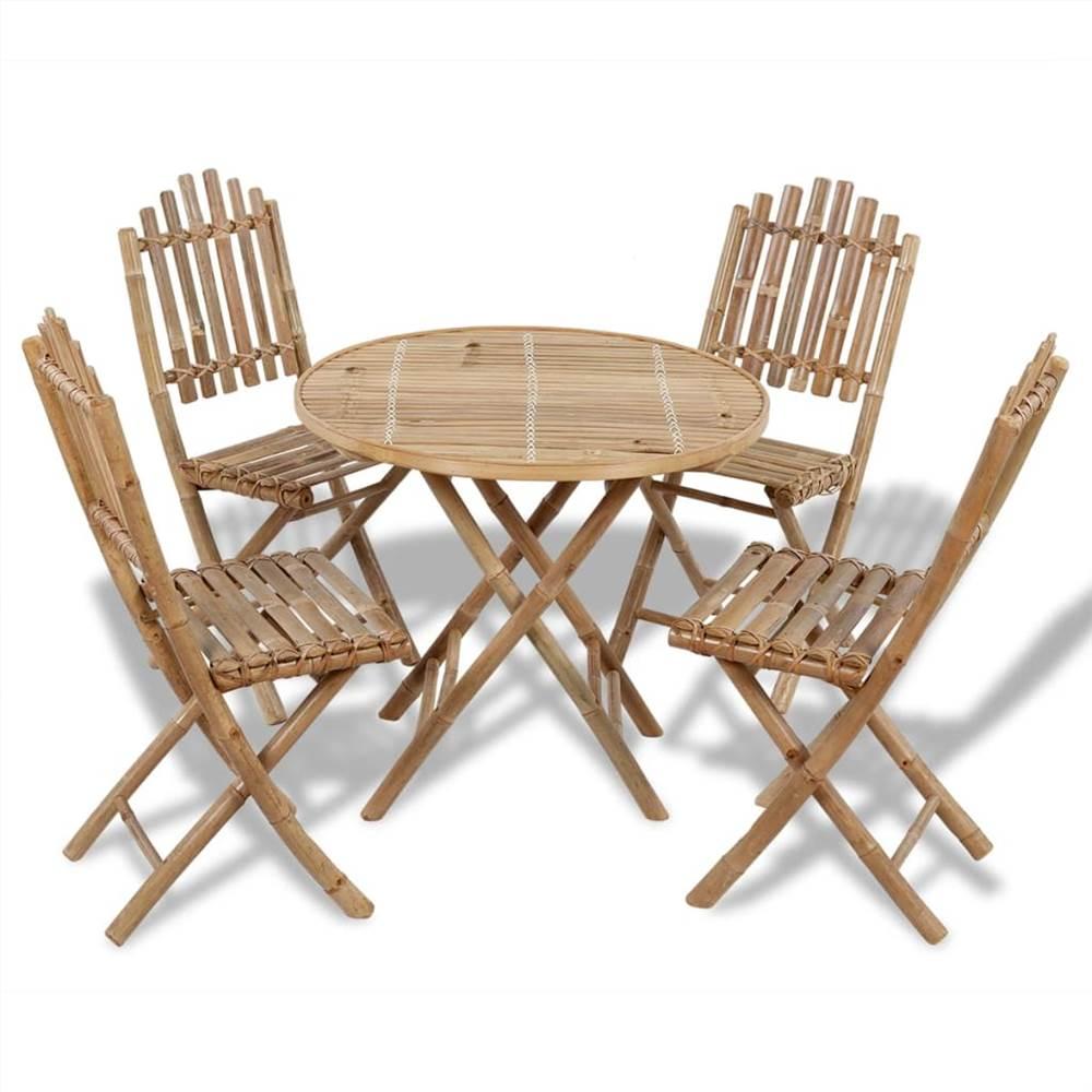 5 Piece Folding Outdoor Dining Set Bamboo