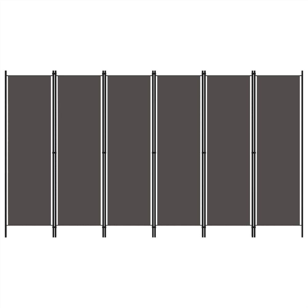 Séparateur d'espace 6 panneaux anthracite 300x180 cm
