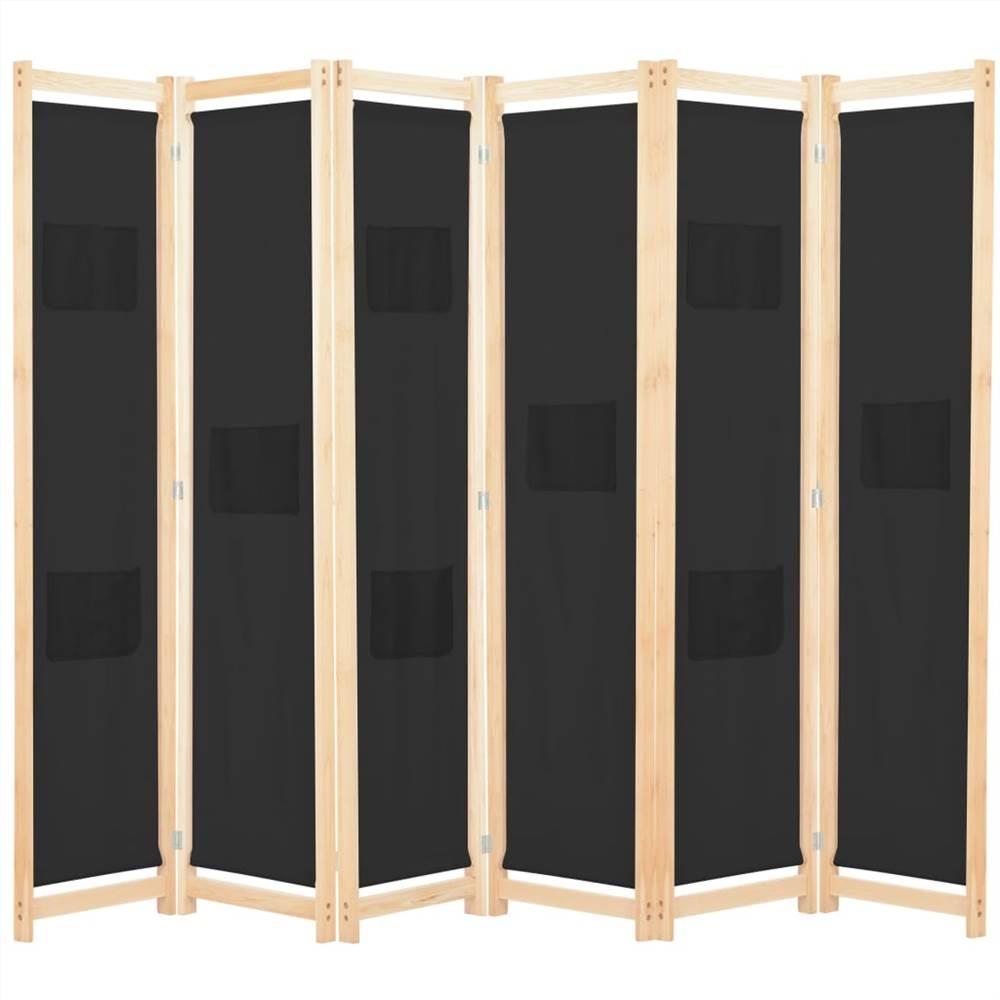 Séparateur de pièce à 6 panneaux en tissu noir 240x170x4 cm