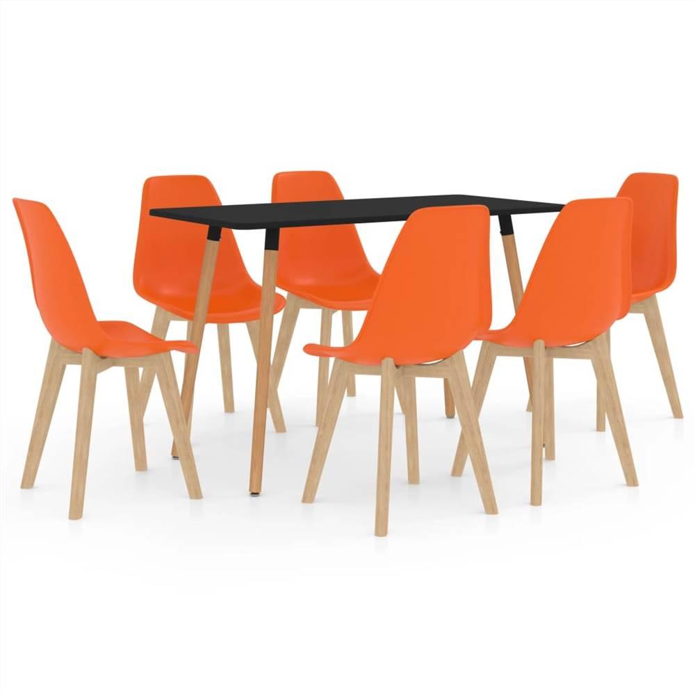 Ensemble de salle à manger 7 pièces orange