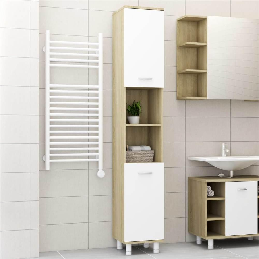 Badezimmerschrank Weiß und Sonoma Eiche 30x30x179 cm Spanplatte