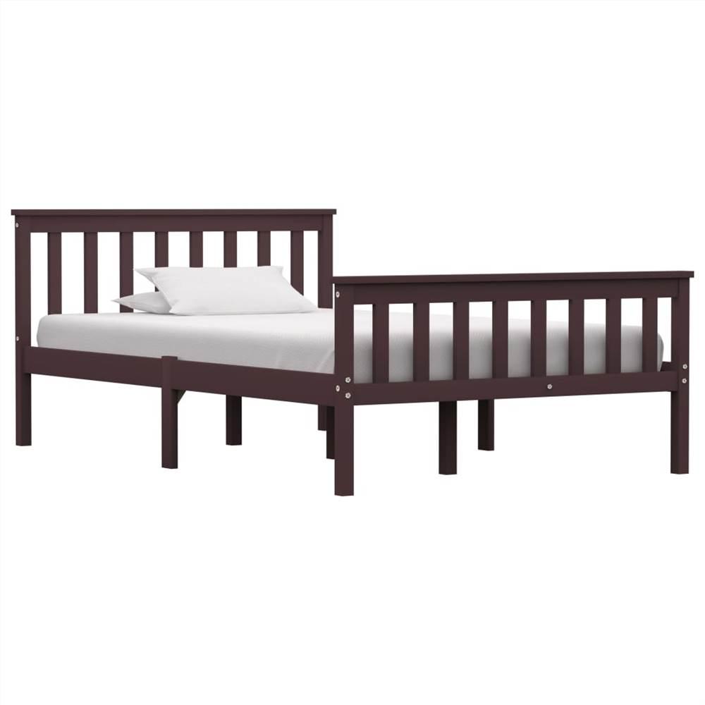 Bed Frame Dark Brown Solid Pinewood 120 x 190 cm