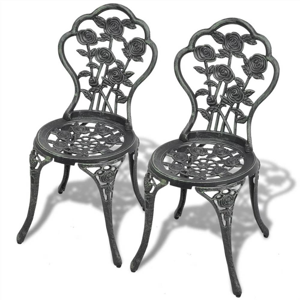 Bistro Chairs 2 pcs Cast Aluminium Green