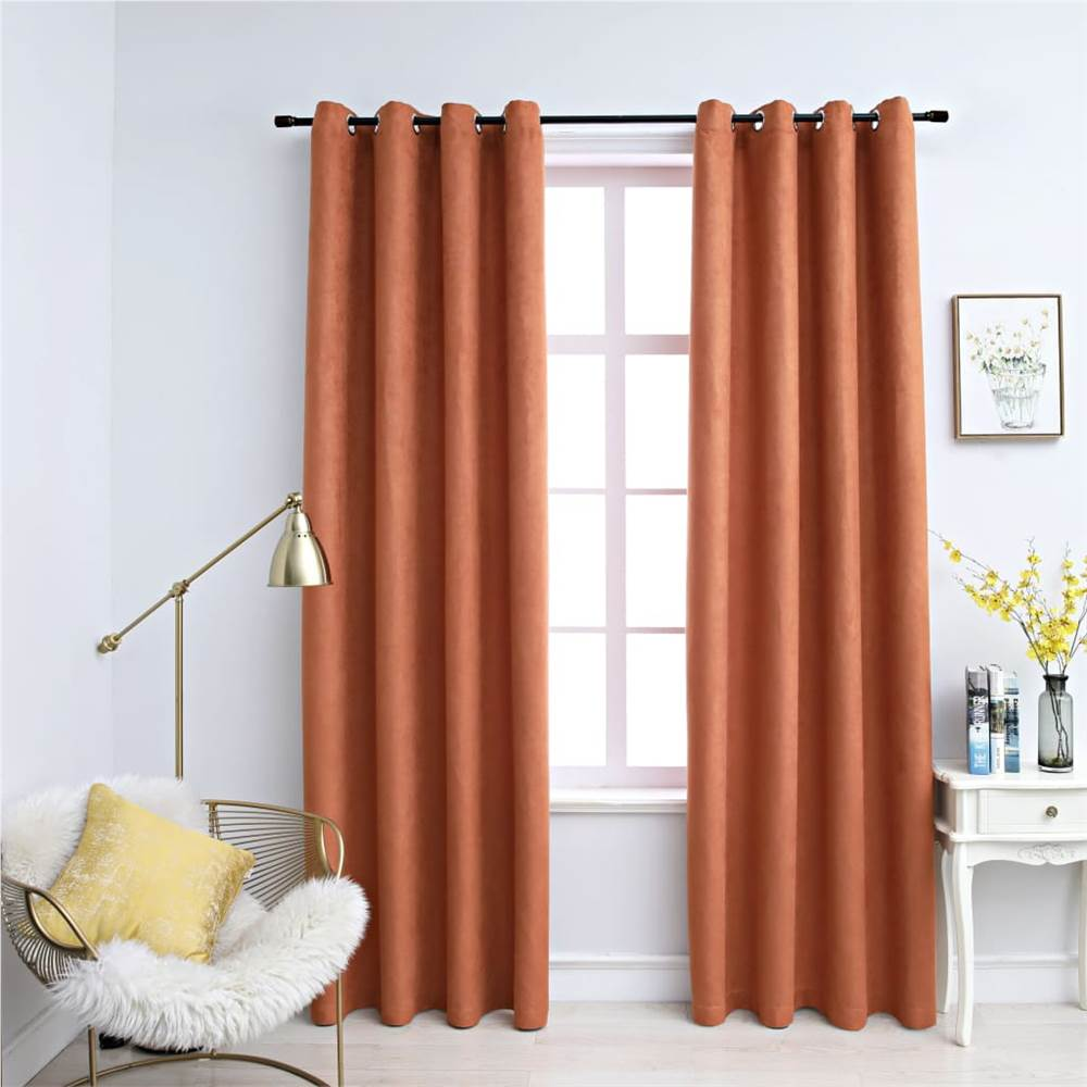 Blackout Curtains with Metal Rings 2 pcs Rust 140x225 cm