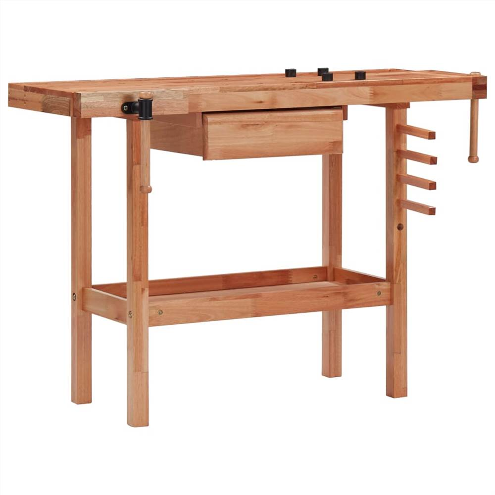 Stół stolarski z szufladą i 2 imadłami z twardego drewna