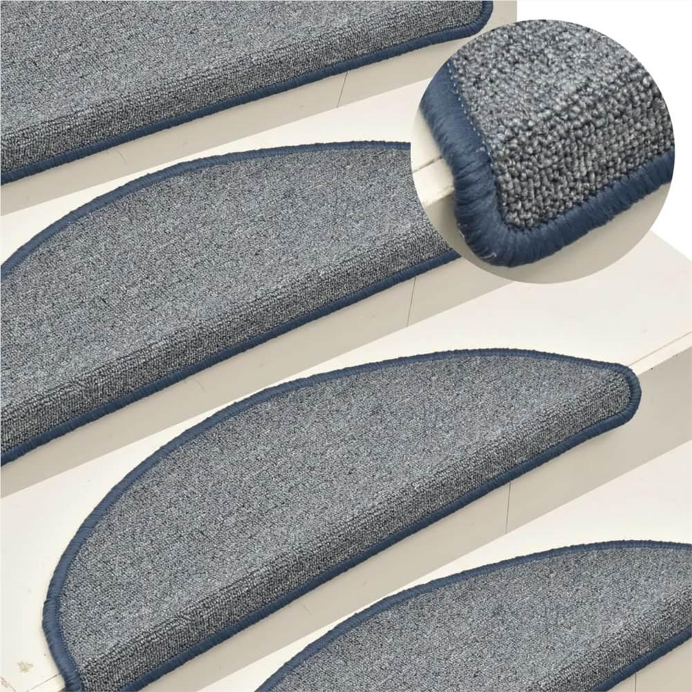 Carpet Stair Treads 15 pcs Light Grey and Blue 65x24x4 cm