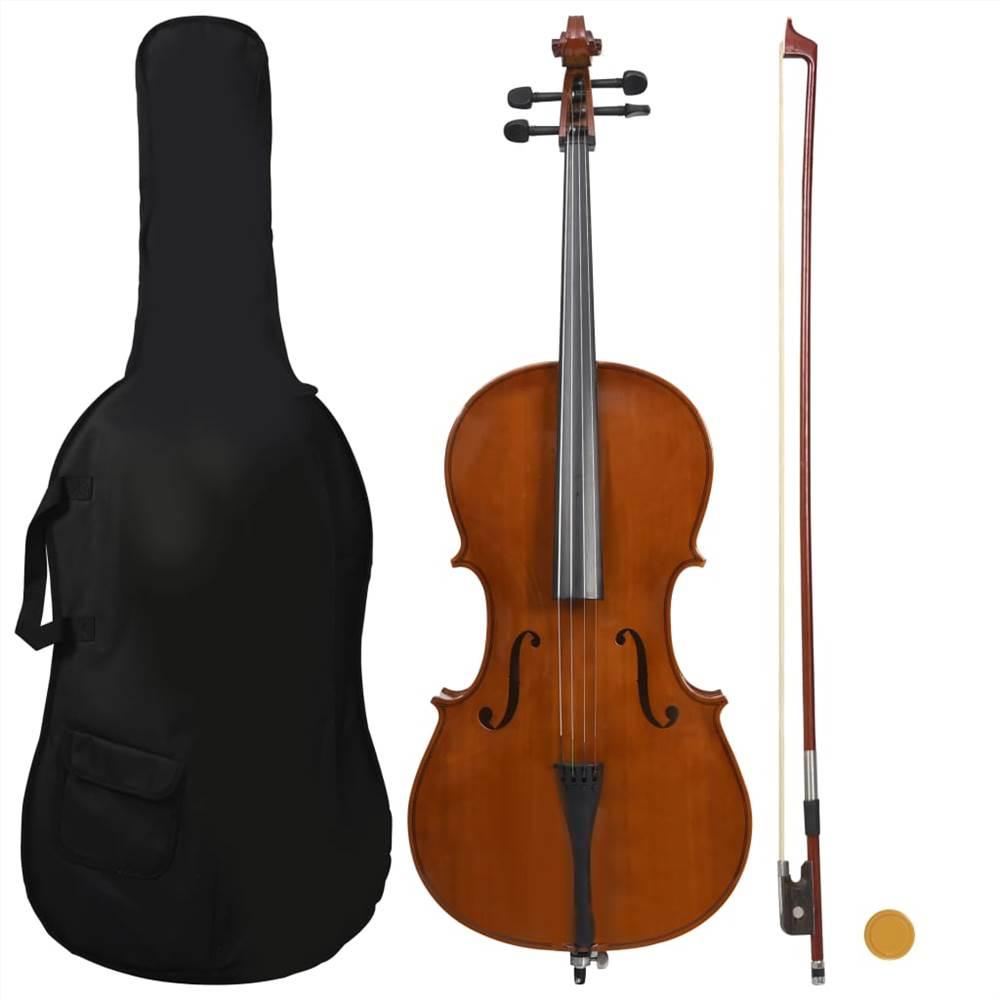 Ensemble complet pour violoncelle avec sac et noeud à cheveux naturels Bois foncé 4/4