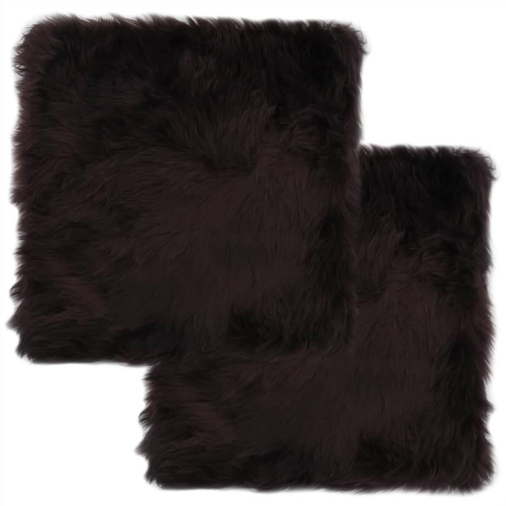 Almofadas para cadeiras 2 unidades marrom 40x40 cm pele de carneiro genuína