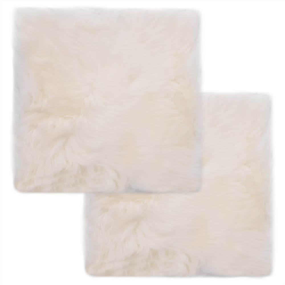 Almofadas para cadeiras 2 unidades de pele de carneiro branca 40x40 cm