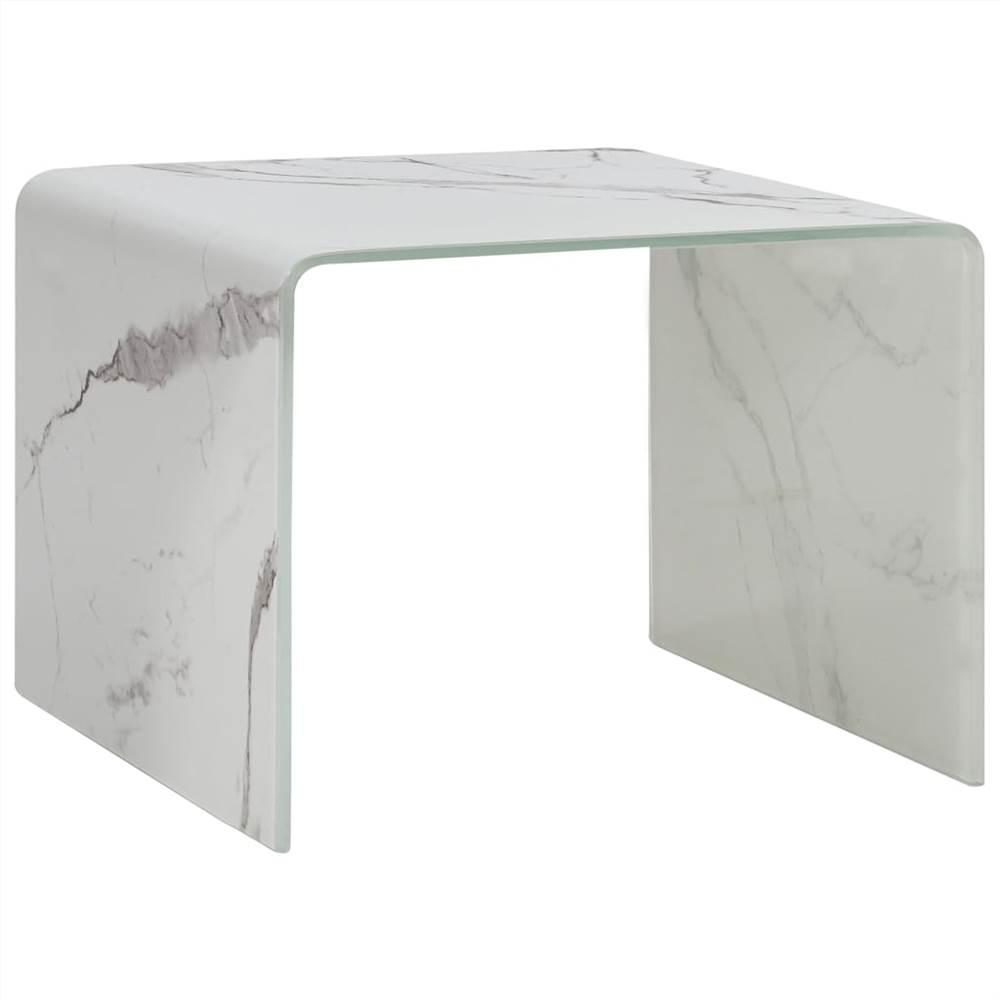 Table basse en marbre blanc 50x50x45 cm en verre trempé