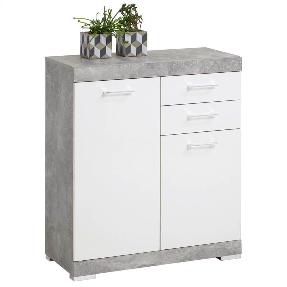 FMD Dresser with 2 Doors & 2 Drawers 80x34.9x89.9cm Concrete and White