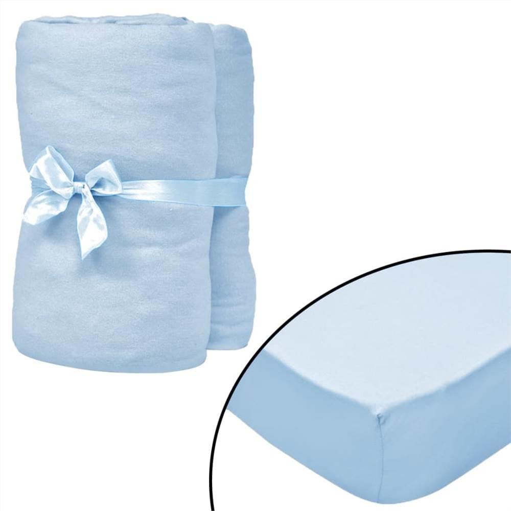 Draps-housses pour lits bébé 4 pièces Jersey de coton 40x80 cm Bleu clair