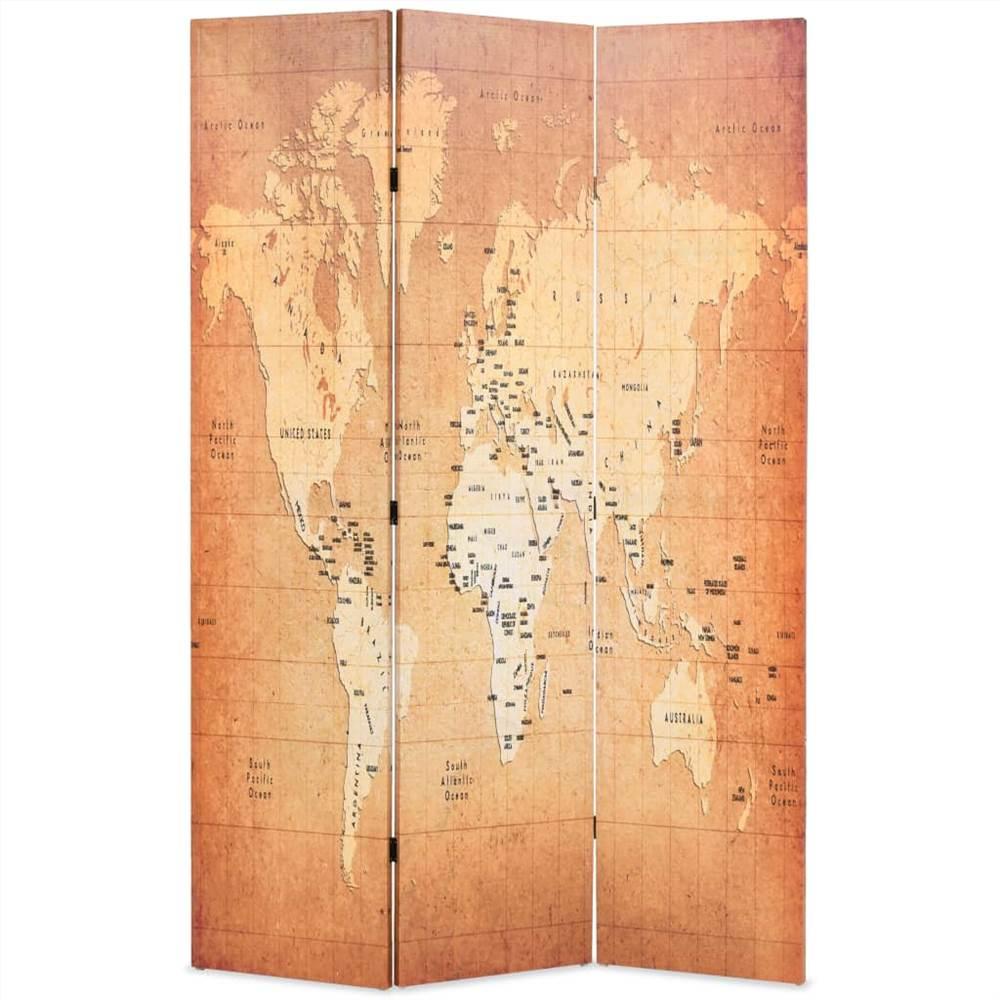 Cloison pliante 120x170 cm Carte du monde jaune