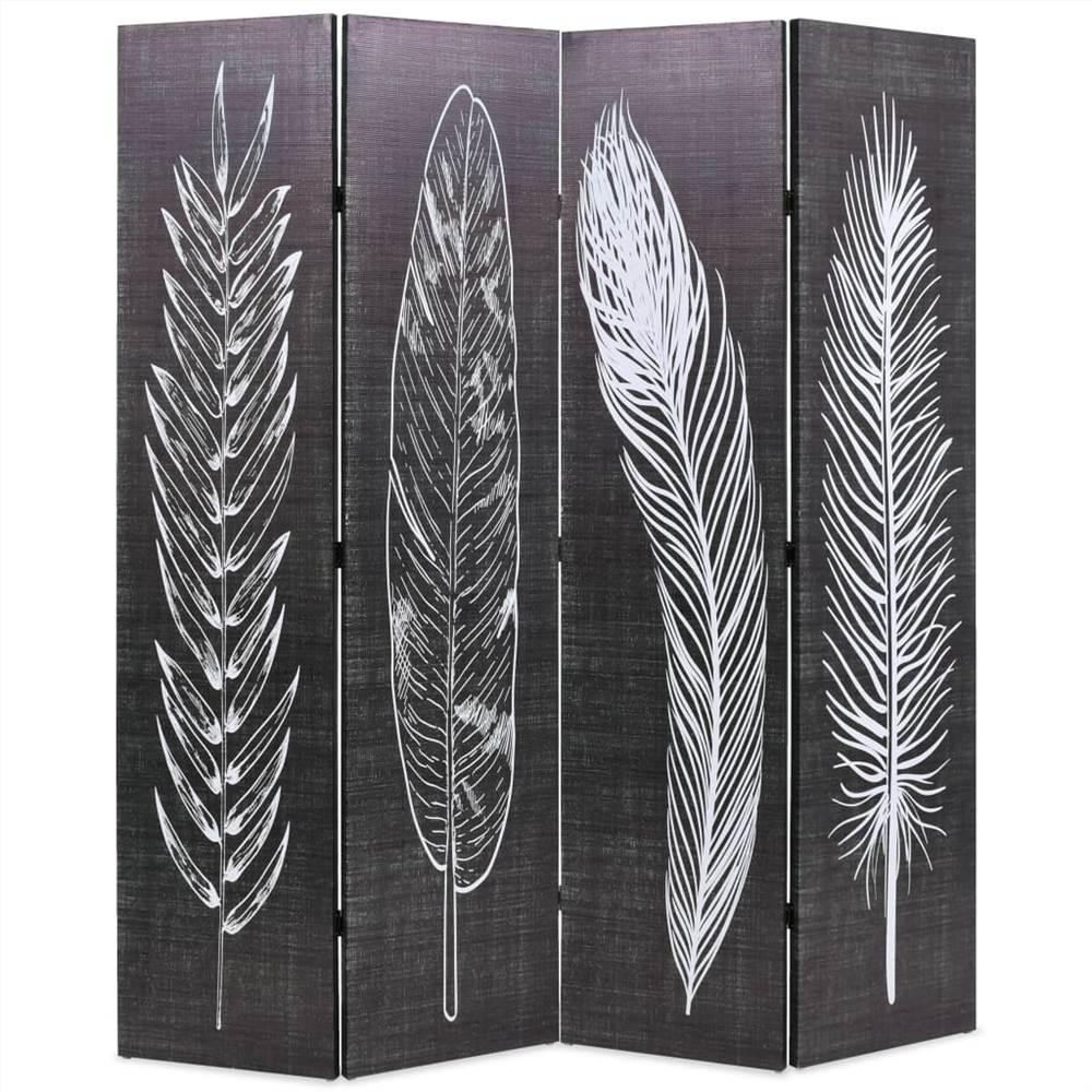 Cloison pliante 160x170 cm Plumes noir et blanc