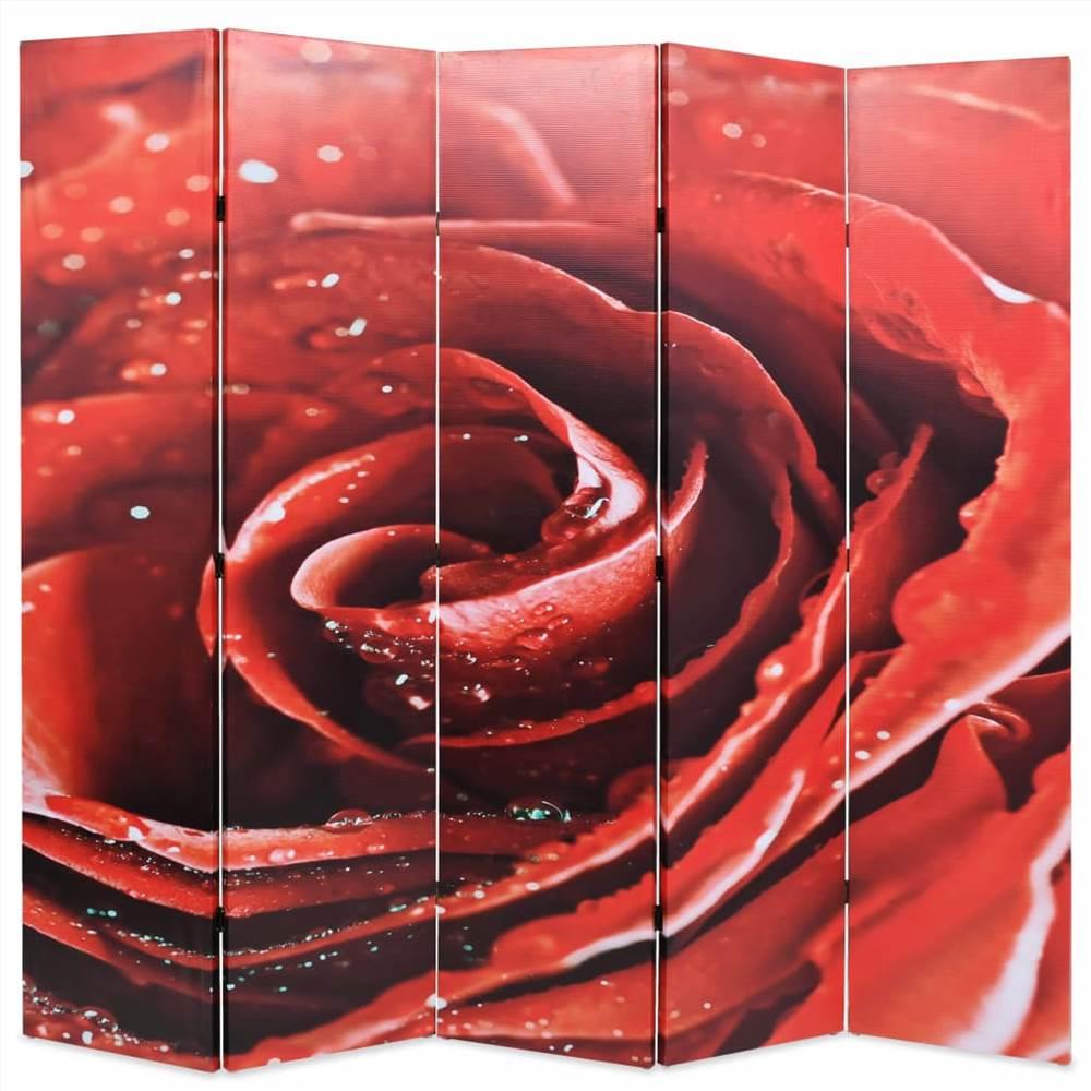 Cloison pliante 200x170 cm Rose Rouge