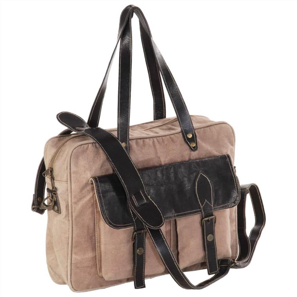 Τσάντα χειρός Καφέ 40x53 εκ. Καμβάς και πραγματικό δέρμα