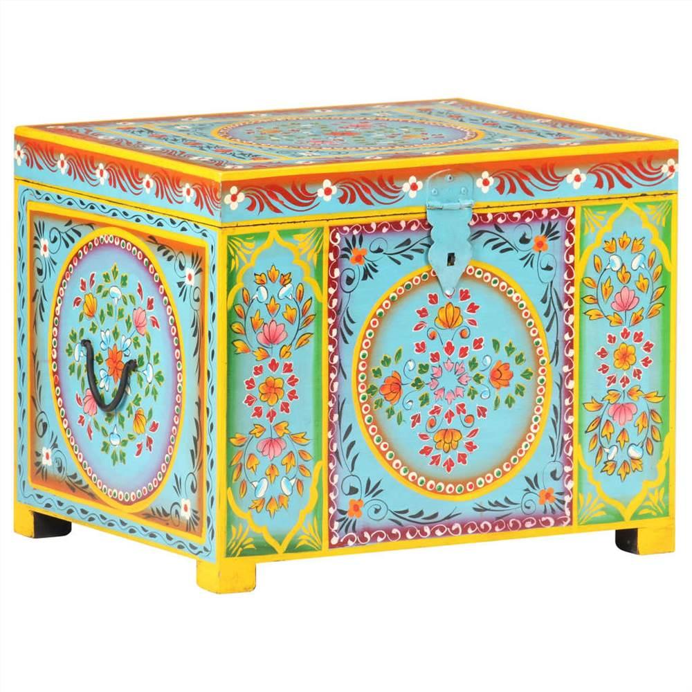 صندوق تخزين مطلي يدويًا مقاس 50x40x40 سم من خشب المانجو الصلب