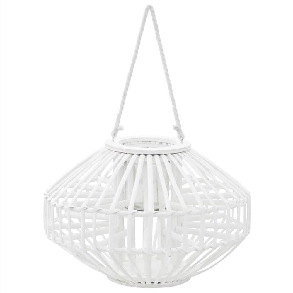 Suporte de lanterna para velas penduradas em vime branco
