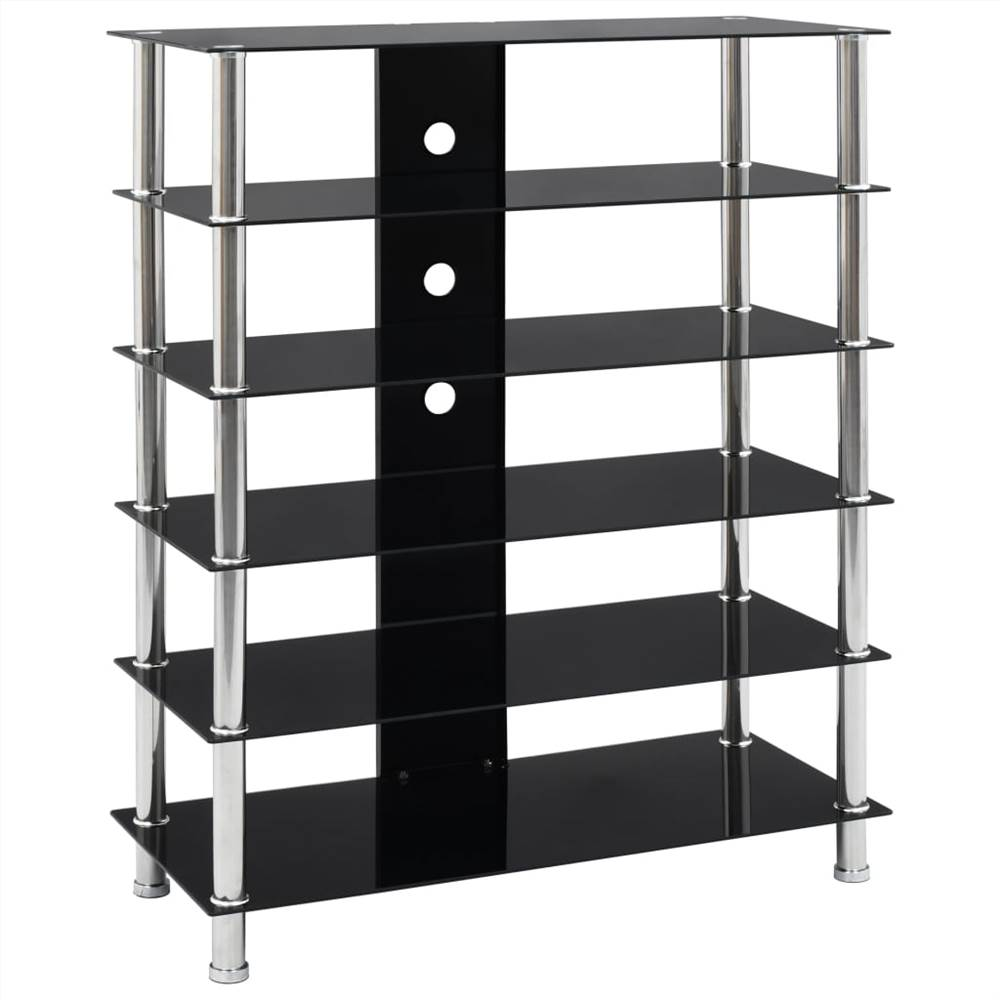 HiFi Stand Black 90x40x113 cm Tempered Glass