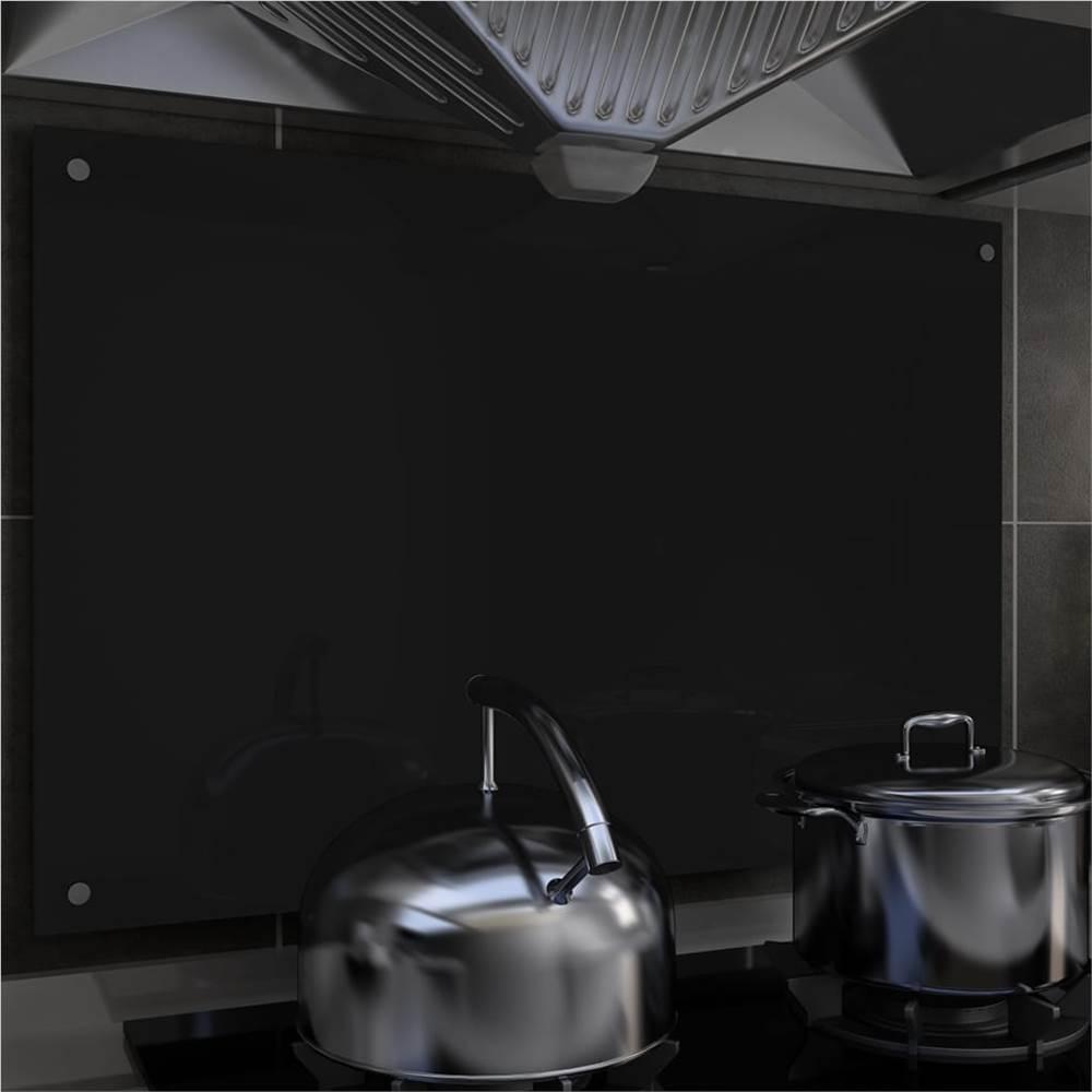 キッチンバックスプラッシュブラック90x60cm強化ガラス