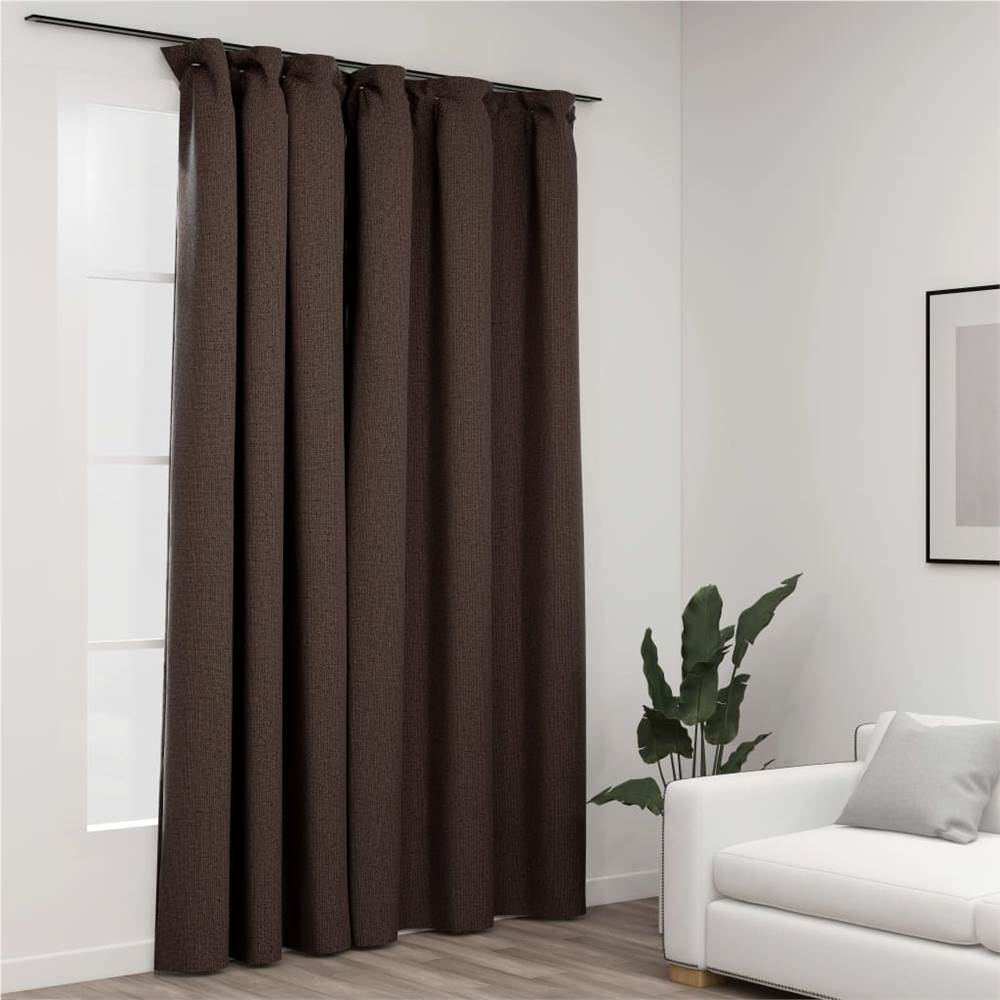 Linen-Look Blackout Curtain with Hooks Taupe 290x245 cm