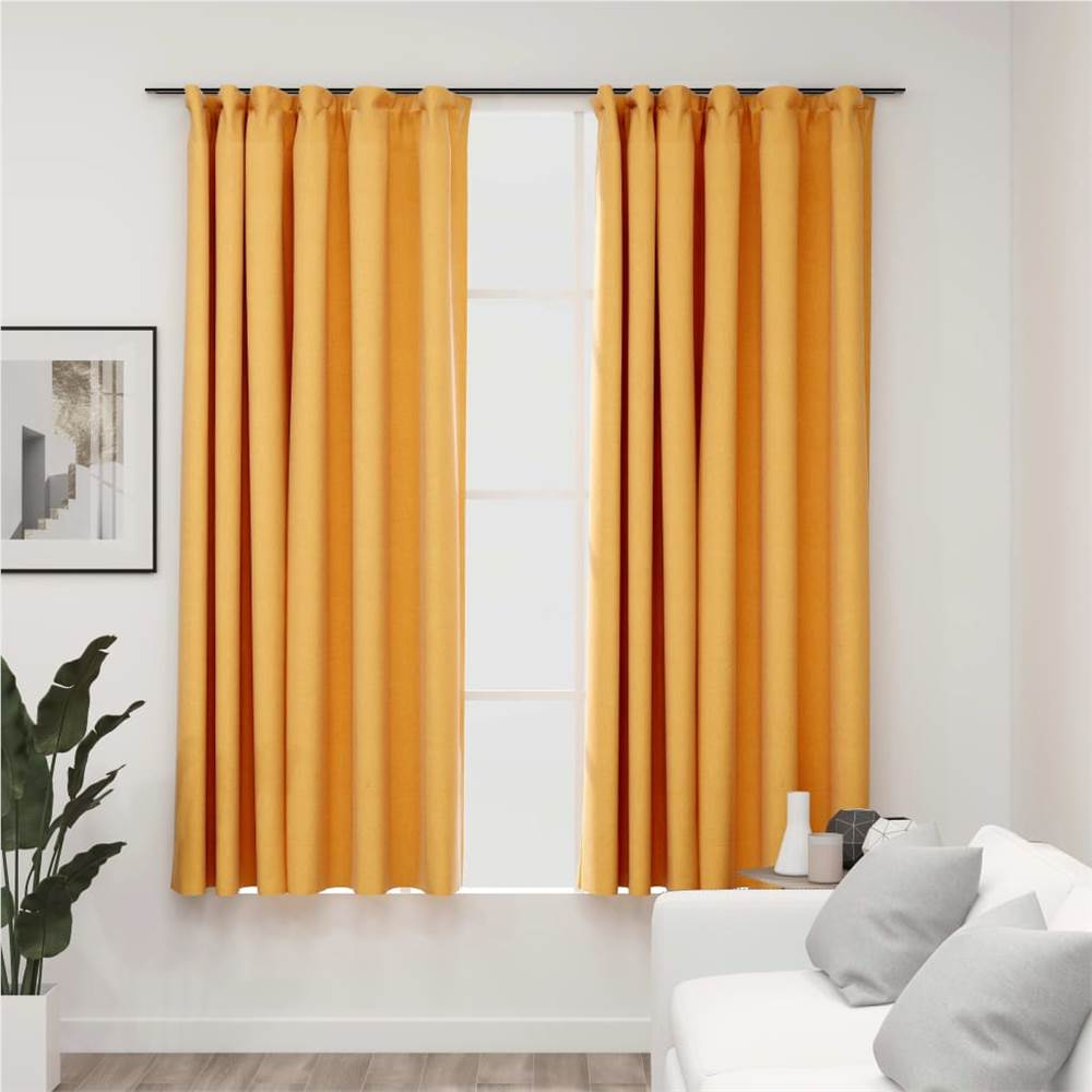 Linen-Look Blackout Curtains with Hooks 2 pcs Yellow 140x175 cm