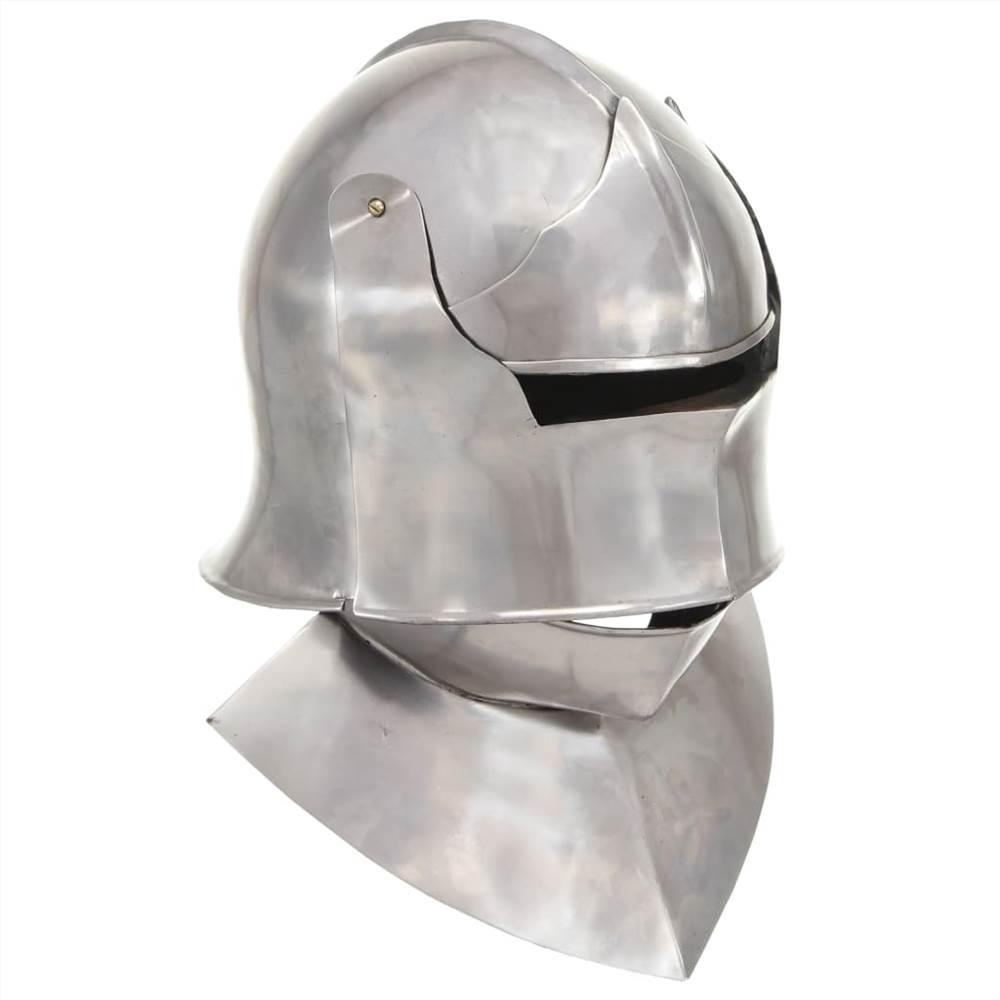 Casque de chevalier médiéval réplique antique en acier argenté GN