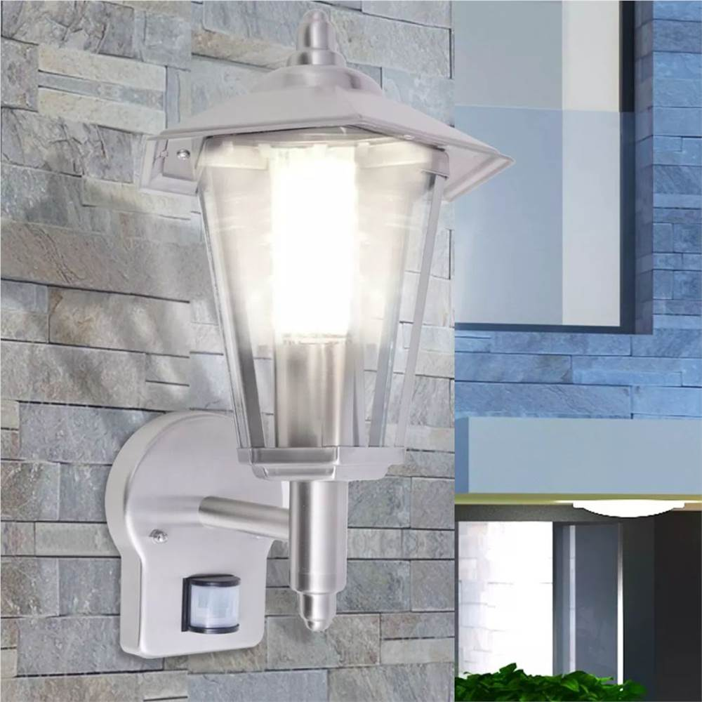 Outdoor Uplight Wall Lantern with Sensor Stainless Steel