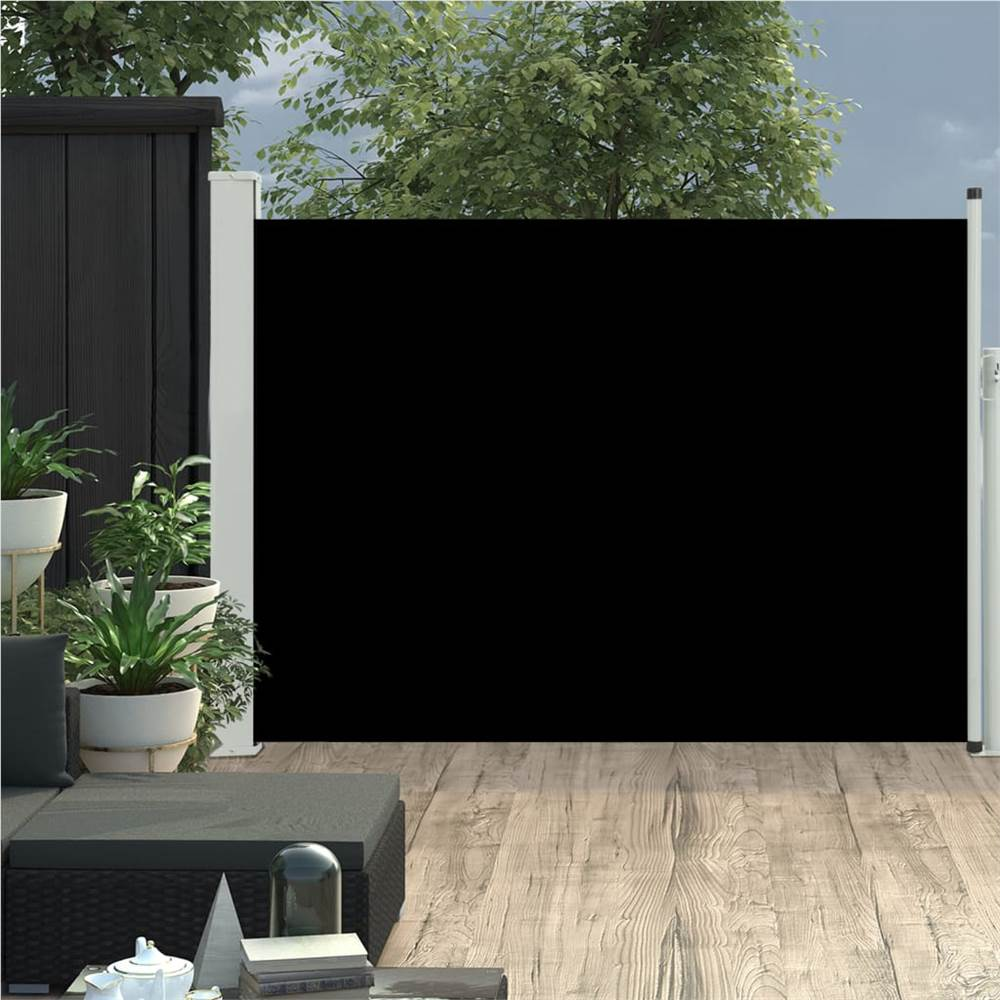 Patio Retractable Side Markise 120x500 cm Schwarz