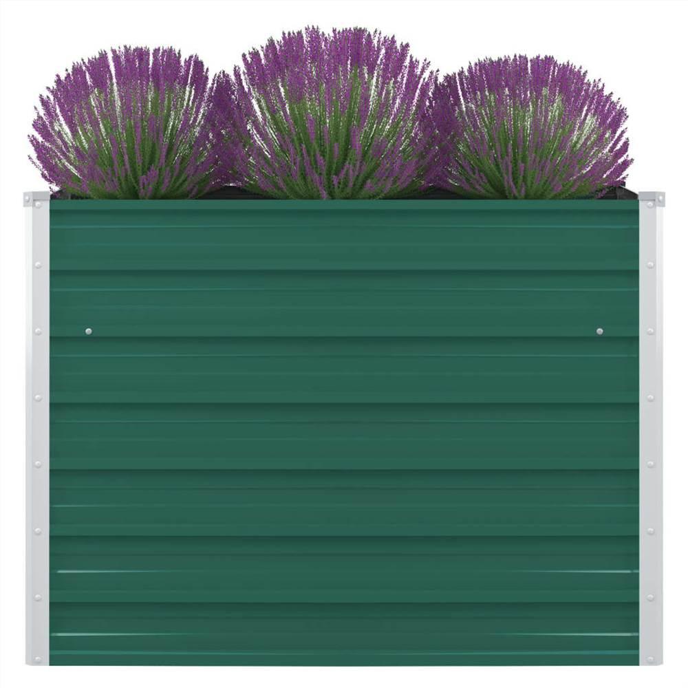 レイズドガーデンベッド100x100x77cm亜鉛メッキスチールグリーン