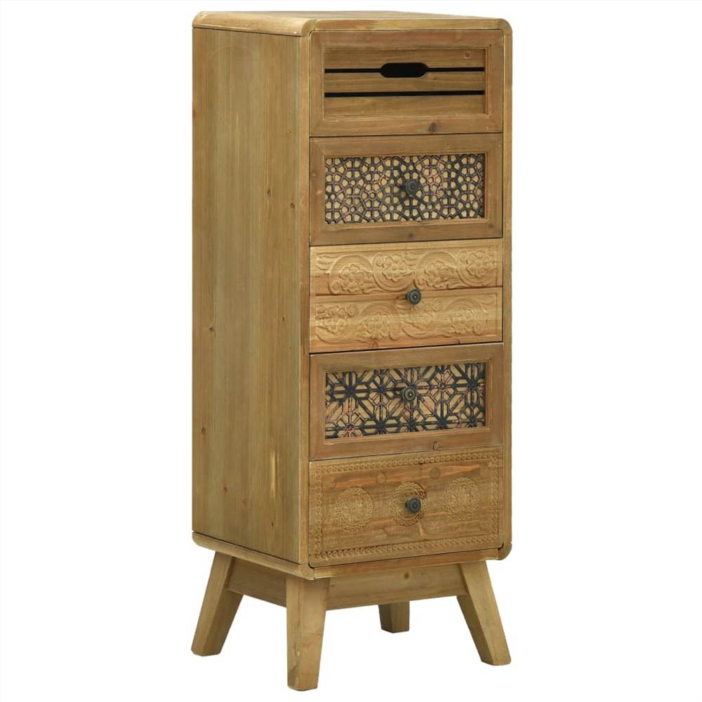 Sideboard with 5 Drawers Brown 37x30x97.5 cm Wood
