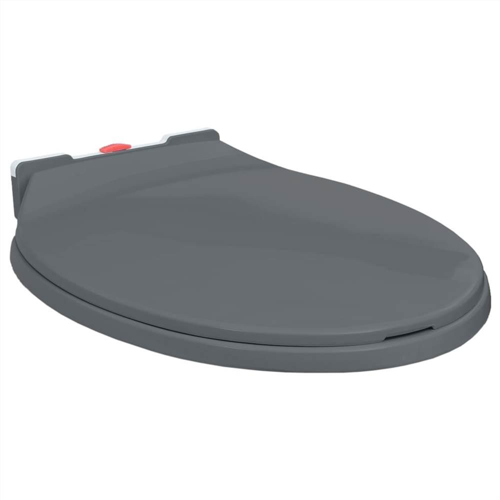 Soft-Close Toilettensitz Schnellverschluss Grau Oval