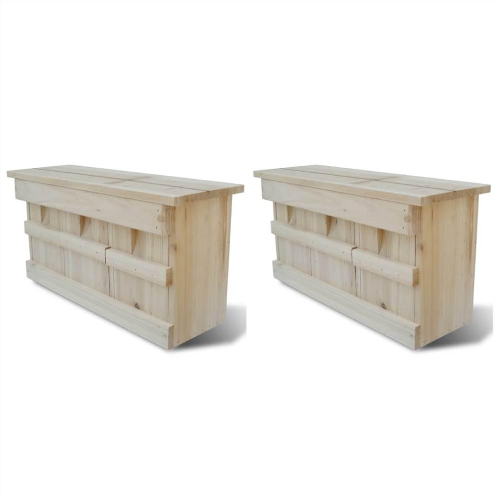 Casas de pardal 2 unidades de madeira 44x15.5x21.5 cm