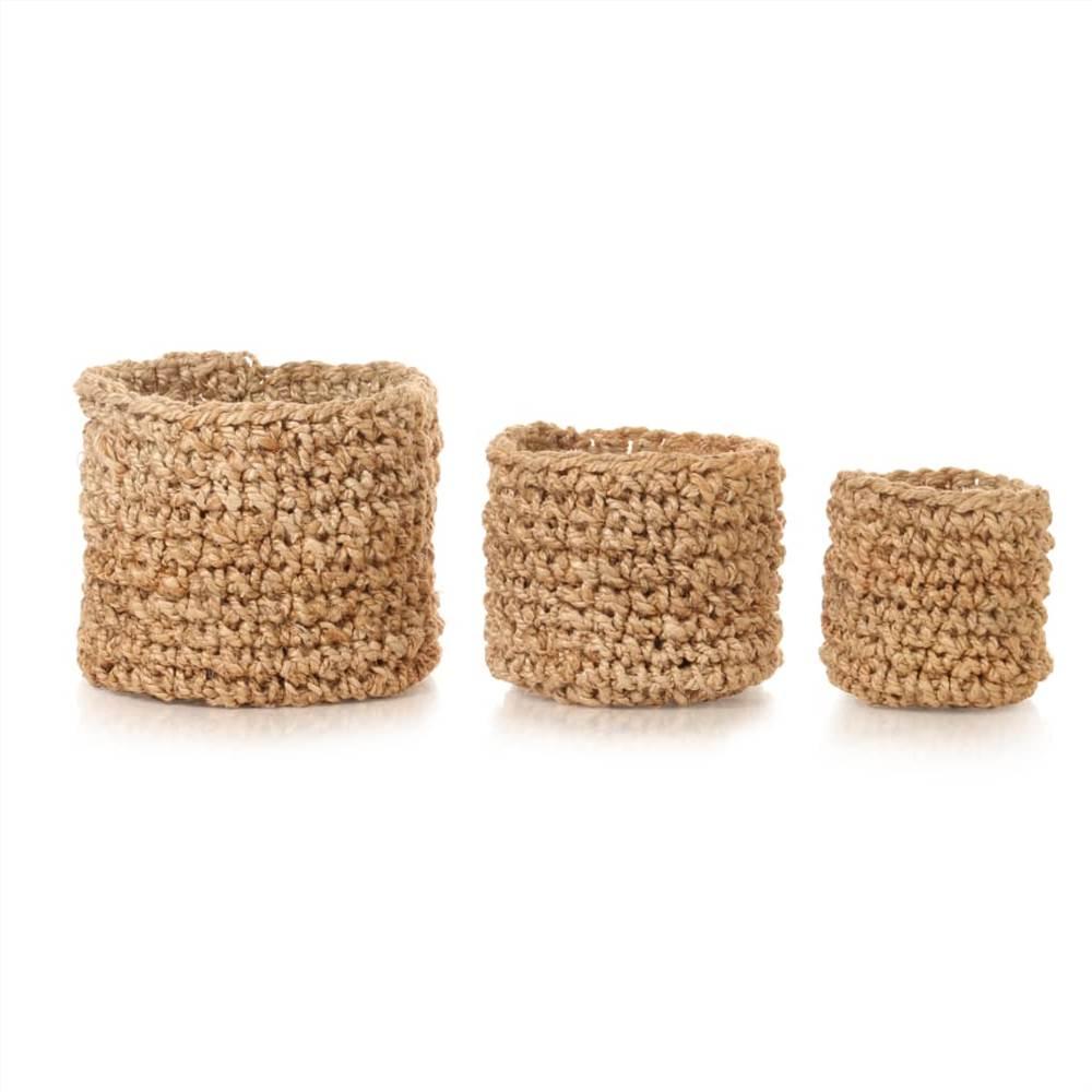 Conjunto de cesta de armazenamento com 3 peças de juta trançada natural